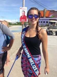 Miss Earth Belize 2015 Christine Symes helped us clean the road today, too.