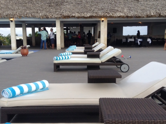 Pool and lounge area beside the grand palapa.