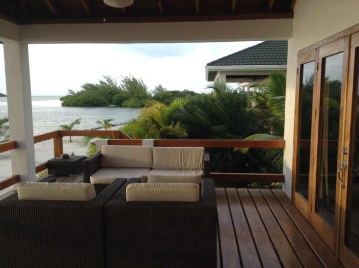 Master bedroom and the deck with private infinity pool off the west side of the large cabana.