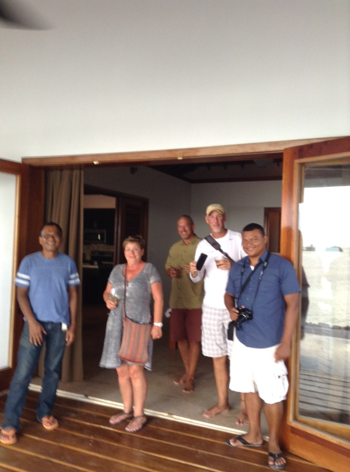 Hasni, Jackie, Scott, Adam and Dion inspect one of the 2,000 sq.ft., two-bedroom cabanas.