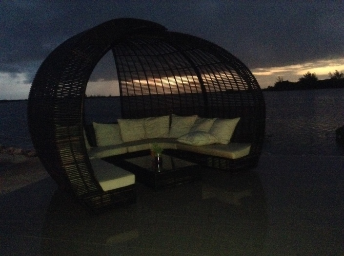 We'll end where we began, in one of the basket pods that dot the lounge area at Mayan Islands Resort.