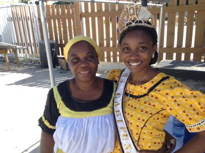 Outgoing Miss Garifuna Tisane Martinez, and her mother, Julia.