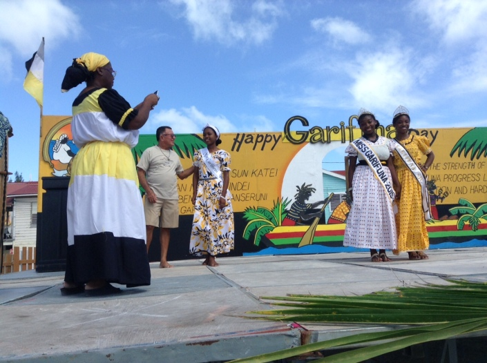 Scenes from the crowning and shashing ceremony for Miss Garifuna San Pedro 2015-16. At left is the Belize Minister of Tourism Manuel Heredia Jr.