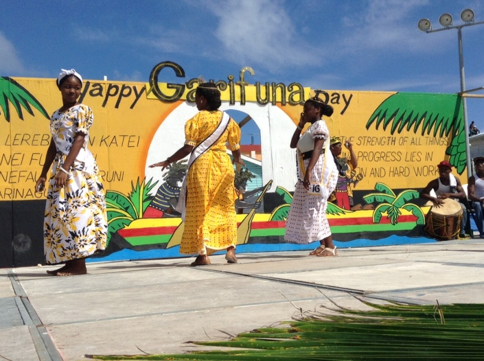 The young ladies danced briefly before departing the stage. Scenes from the crowning and shashing ceremony for Miss Garifuna San Pedro 2015-16.