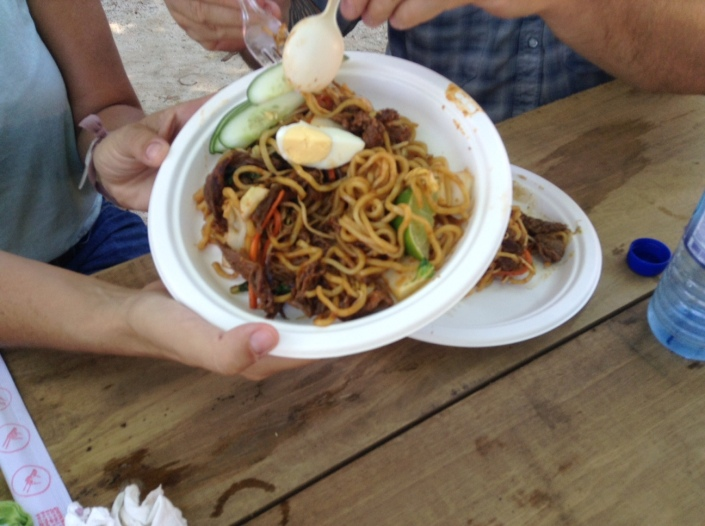The Mee Goreng -- egg noodles with beef in a mild sauce. You can also get chicken, shrimp or tofu and medium or hot spices.