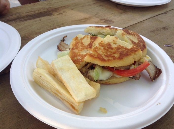 An arepa sandwich, possibly the skirt steak which was delicious. They just came too fast and too many to scratch down all the names!