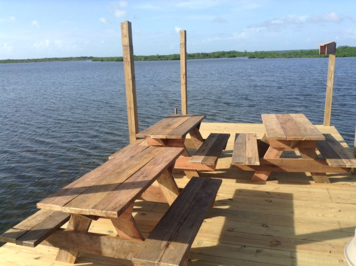 Picnic tables are being positioned at the end of the Truckstop's pier, ovelooking the lagoon. Perfect for sunsets.
