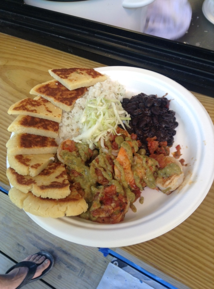 "From Arepa: the plate simply known as ""El Diablo"" -- it contains spicy shrimp. What else can I say?"