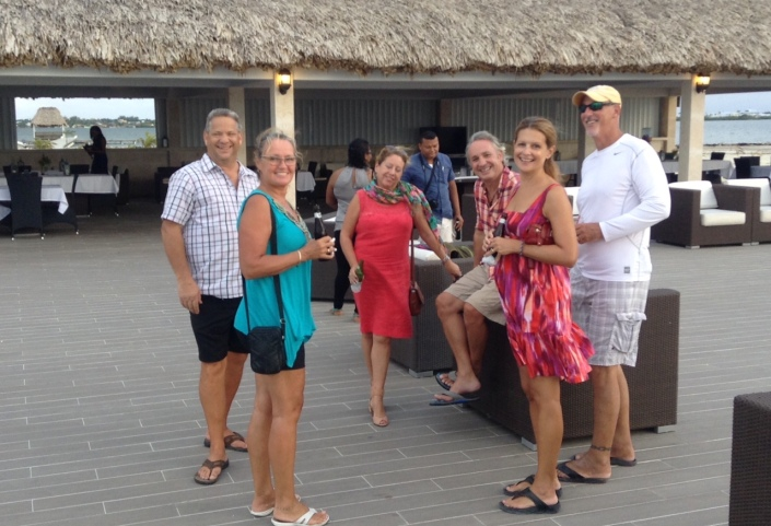 "Part of our team of resident ""hospitality experts""  evaluating the island's latest resort to open (l to r): Wayne, Linda, Marie, Steve, Sue and Adam."