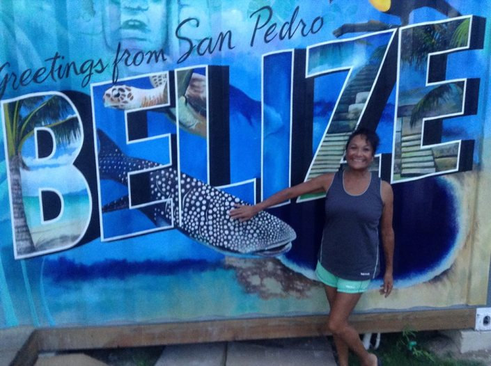 Rose Alcantara n a recent visit to the Truckstop poses before the bar mural, which promises to become an iconic island shot for visitors.