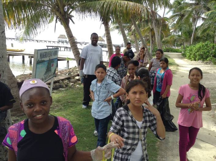 The older Holy Cross students tackled the Tres Cocos beach path and the road.
