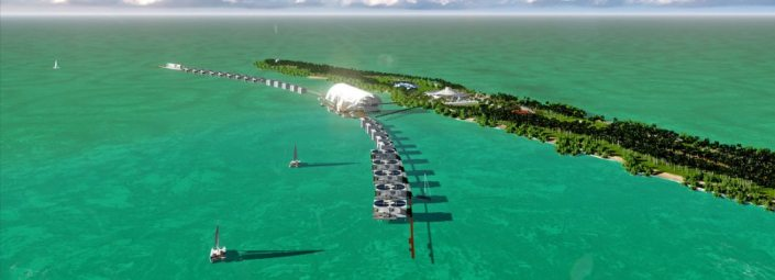 "Blackadore Caye with the proposed ""outrigger"" pier, facing north. The pier with over-the-water hotel and a three-story ""village"" is on the western side of the island."