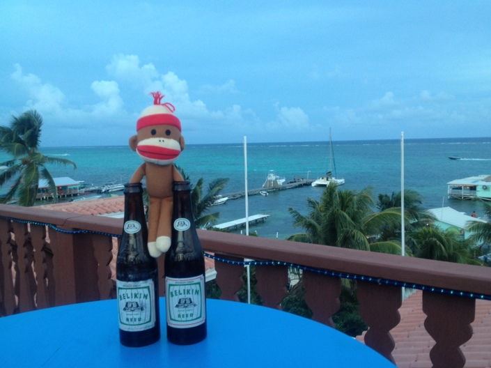 This is our lost and lamented travel companion, Monkey Bob, atop the Blue Tang Inn in San Pedro in 2013. You can seen the kind of chap that he was then and how I might have mistaken the Drunken Monkey for dear old Bob. You can see that, can't you?