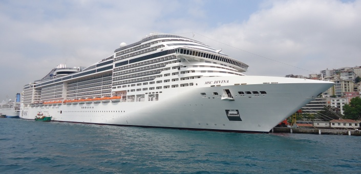A publicity shot of the MSC Divinia in Istanbul, Turkey. This week it ported in Belize City for the first time.