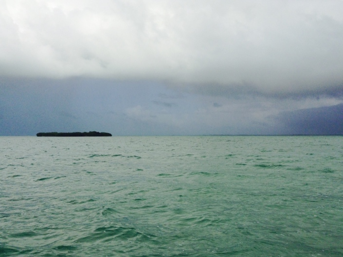 A storm rolls in fr4om the east as we were fishing on the back side of Ambergris Caye on Wednesday. It was a brief and refreshing down pour that left behind blue skies and some hungry barracuda.