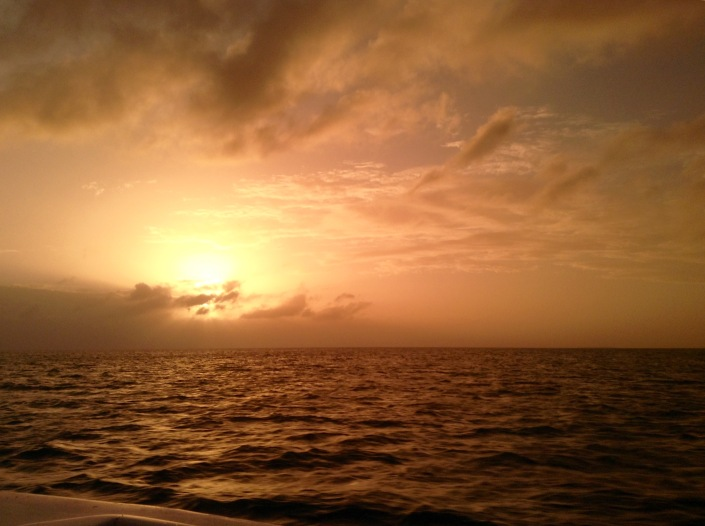 Sunset on the western side of Ambergris Caye, Belize, as we head for home on Wednesday. This image was shot through the lens of my polaroid sunglasses but it actually captures what was happening and how we were feeling at that moment!