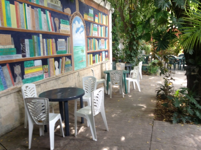 This is the courtyard behind the English Library in Merida. Besides providing -- obviously -- English language books for expats, the library is a social gathering place for all.