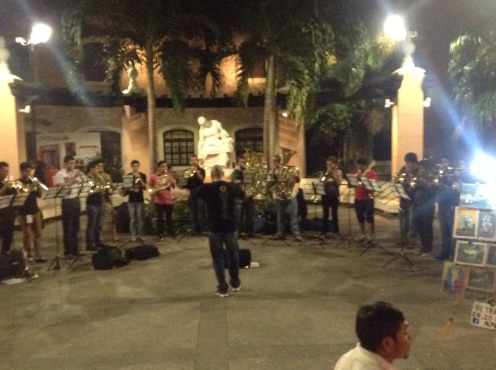 In one park in Merida a brass orchestra was playing beautiful music, for all to enjoy.