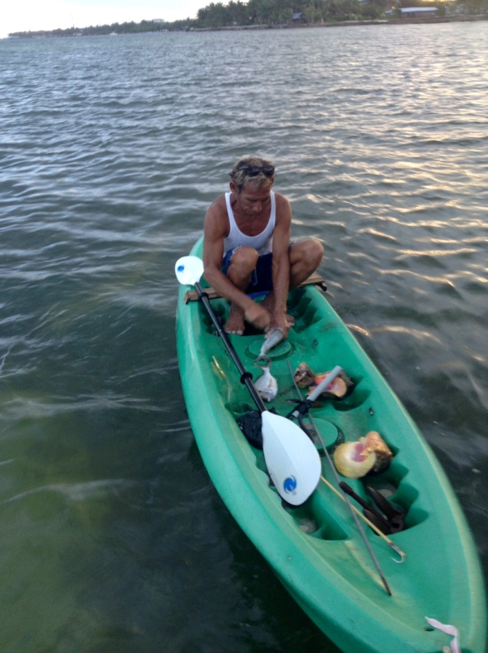 Jose, or Salva, has been paddling out to the reef daily for 40 years, harvesting what he can find to resell along the shore.