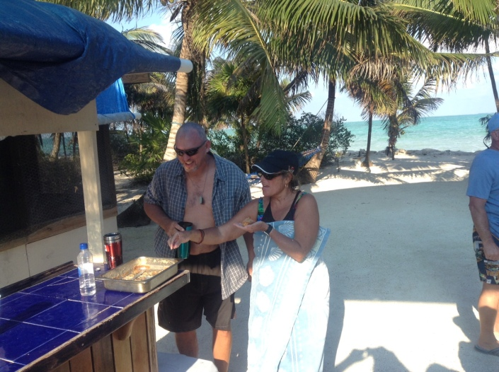 Scott and Ruthie strategize over the remaining squares of a delicious rum cake, baked by Sue Blair.