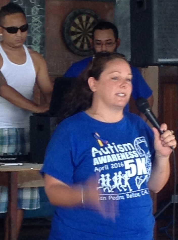 Sarah Jean delivers the final directions for the 5K run/walk to participants.