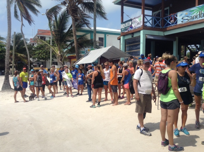 Some of the many eople registering for the Autism Awareness 5K at the Sandbar in San Pedro on Sunday morning.