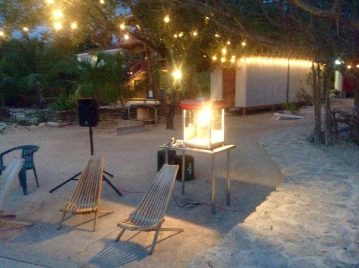 """Ben Popik trucked out his new popcorn machine at The Truck Stop Friday night for an outdoor screening of the CBS comedy """"Criminal Minds: Beyond Borders"""" which featured a highly imaginary Ambergris Caye as the setting. Lots of laughs and free popcorn had by all!"""