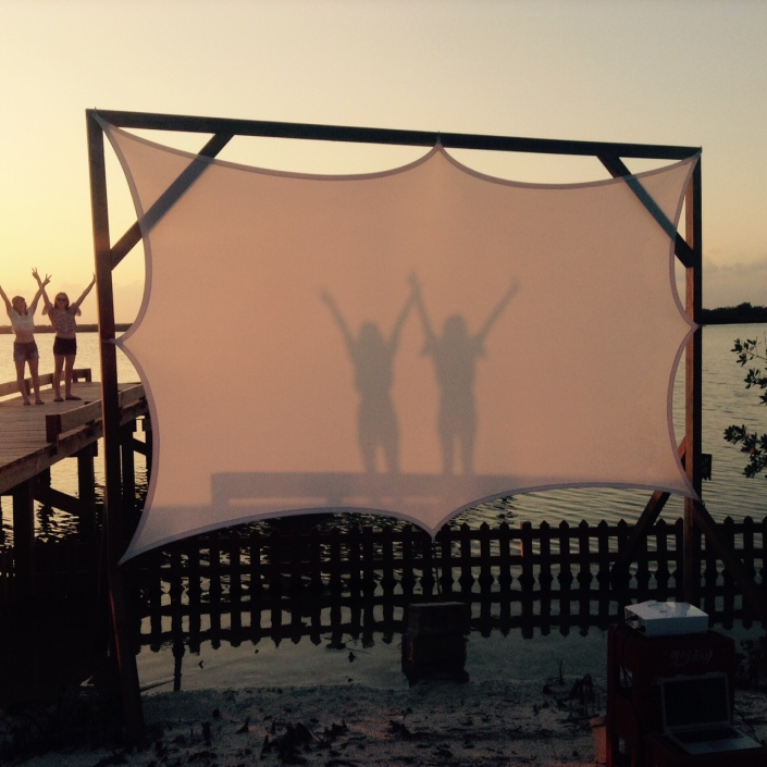 "This is the movie screen at the Truck Stop here on Ambergris Caye. Mainly they show free movies on Wednesday nights, like ""Deadpool"" this week. On Friday they had a special screen of the CBS comedy ""Criminal Minds: Beyond Borders"" ... just for fun. OK, not intentionally a comedy. This photo was taken a couple of weeks ago at sunset."