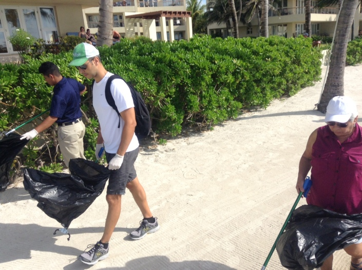 Starting our walk down the beach on Saturday morning with the Phoenix Resort crew.