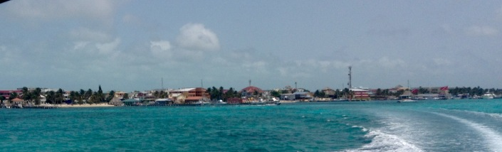 Leaving San Pedro for Caye Caulker. I can't help it but there is an emotional tug every time I leave the shore of Ambergris Caye -- even if I am heading off on a fun adventure, like Monday's.