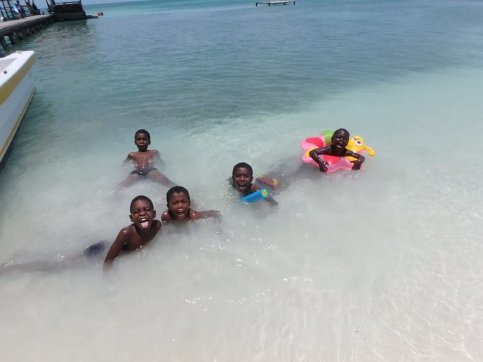Kids at play on Caye Caulker.
