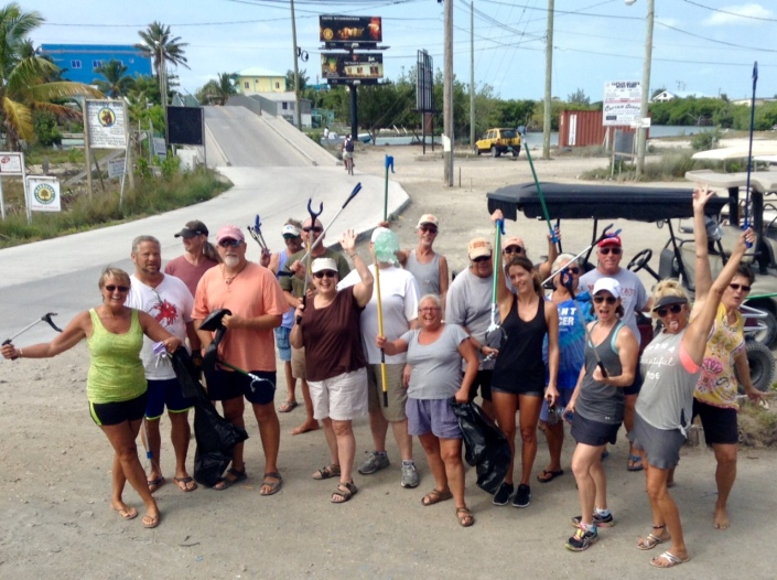 This was our own Tres Cocos crew on the first Friday of May. You've got to love the enthusiasm! From donations, we now have a trash pick-up stick for nearly every volunteer --- and many many ache-free backs thank you!