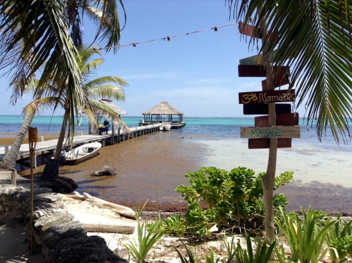 The palapa at the end of the pier, where yoga happens, at Ak'Bol Yoga Retreat and Eco-Resort, in north Ambergris Caye, Belize.