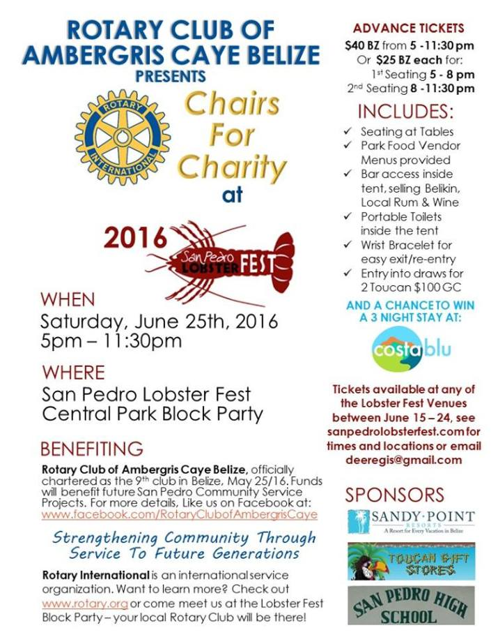 Here are all the details on the San Pedro Rotary Club's Chairs for Charity event during the Lobster Fest Block Party on June 25.