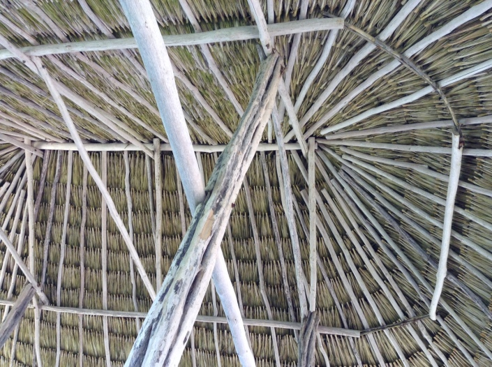 The roof of the palapa at the end of the pier, where yoga happens, at Ak'Bol Yoga Retreat and Eco-Resort, in north Ambergris Caye, Belize.