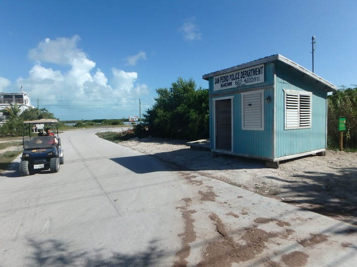 This police booth was built in a day back when the North Ambergris Caye Neighborhood Watch was active. It has recently been moved to the paved road and Grand Caribe Resort has offered to help restore it to functional use. Revival of a north island Neighborhood Watch is a big part of the island discussion after a meeting on Tuesday night.
