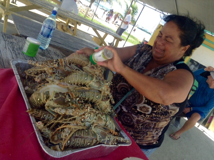 This is Fran, she has been hustling lobster on Caye Caulker for a decade and has the glib patter to prove it. Eatng at her table is both fun and delicious -- but don't you be bringing in lobster bits on a stick from somebody else's grill. No way.