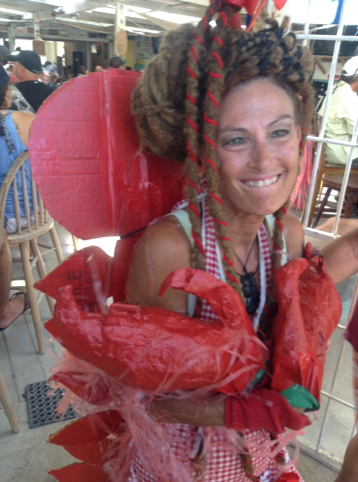 Among the things you are most likely sto see at the Caye Caulker LobsterFest are people dressed up as lobsters ... dreadlocked lobsters.