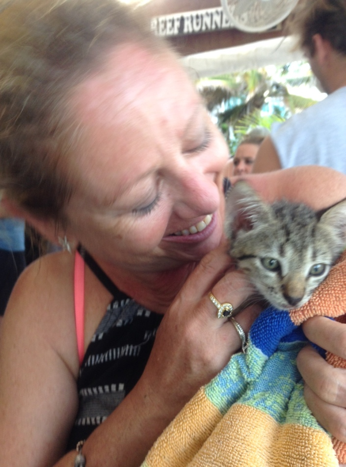 ... to the tiny kitten. Most of us came back from the Caye Caulker LobsterFest with happy smiles; Marie came back with an adopted kitty, which she named Ci Ci ....
