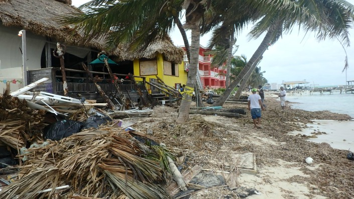 This beach area in front of Fido's was completely unpassable on Thursday. The popular bar and restaurant lost a lot of thatching from its roof and .....