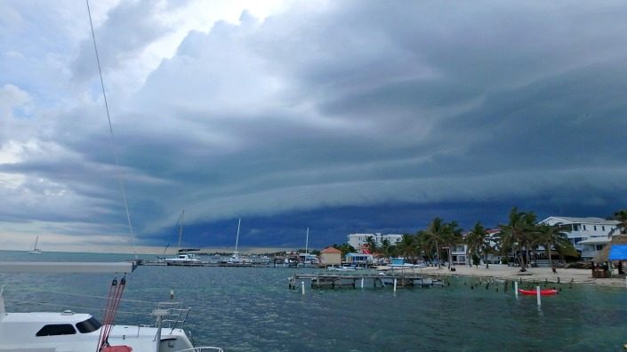 A cold front pushing over Ambergris Caye from the west? Wow, was this an unusual cloud formation for here!