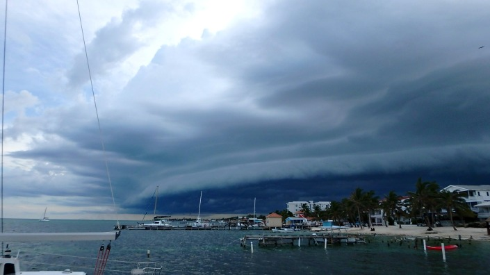 In San Pedro Town, Belize on Tuesday, August 30, 2016 around 4 p.m.. looking west.