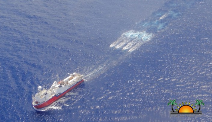 One of two ships that were performing seismic surveys for oil exploration within a kilometer of the MesoAmerican Barrier Reef, off the coast of Belize. The ships have allegedly reined in their gear and headed for port. (Picture courtesy of San Pedro Sun)