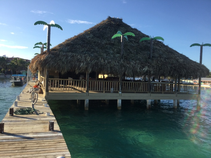 The view of the Palapa Bar & Grill from the reef side of the pier. Floating inner-tubes and a set of stairs into the water have since been added in the foreground.