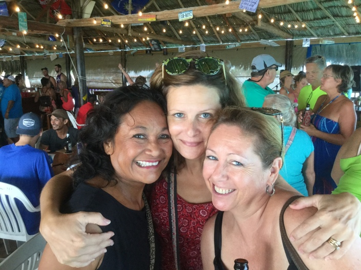 Rose, Sue and Marie enjoying the re-opening of the Palapa Bar & Grill in San Pedro, Belize.