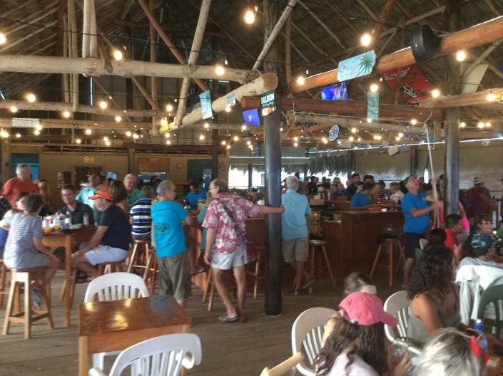 View toward the bar from the reef side of the newly re-opened Palapa Bar & Grill in San Pedro, Belize.