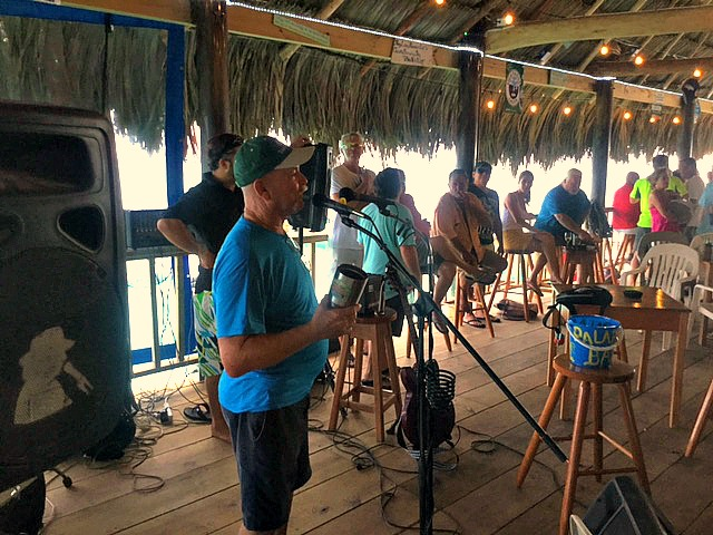 Scott Harnish delivers an emotional welcome to all who attended opening day of his Palapa Bar & Grill.