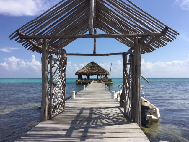 The gateway to Ak'Bol's palapa studio out on the water. You could not ask for a more beautiful setting in which to practice yoga. The palapa looks bigger and more open than the original, and maybe a little farther off-shore. Beautifully done!
