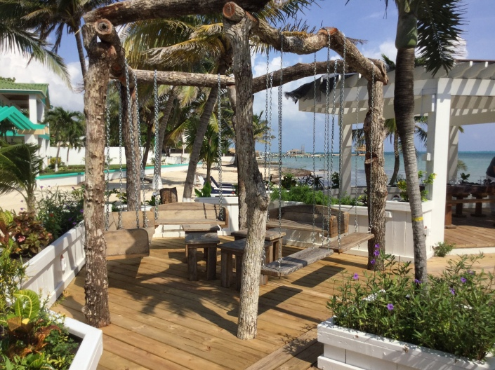 "The ""swinging"" lounge area -- all made from Hurricane Earl salvaged wood and a fun place to hang out!"