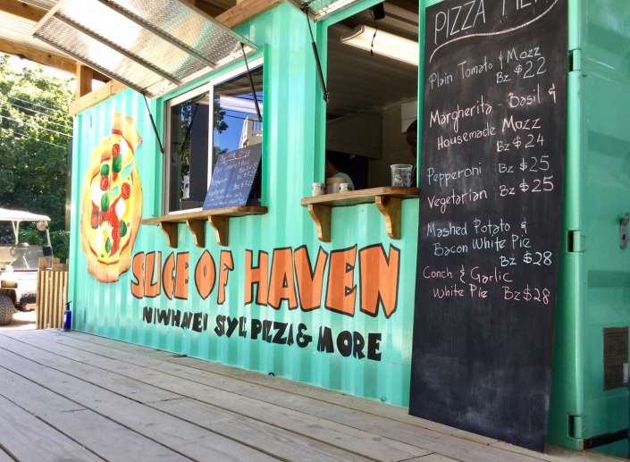 The new Slice of Haven pizza truck -- OK, shipping container -- at The Truck Stop on Ambergris Caye, Belize.
